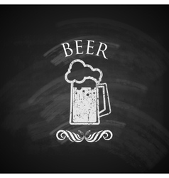 vintage beer pint glass with chalkboard texture vector image