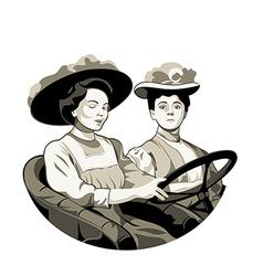 Vintage driving women vector