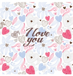 Vintage floral love background vector image