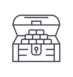 chest of moneytreasure line icon sign vector image