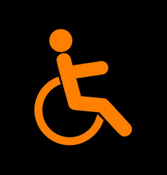 disabled sign orange icon on black vector image vector image