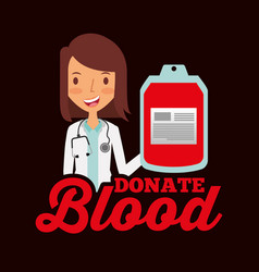doctor professional holding bag blood donate vector image