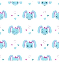 Funny girlish seamless pattern with cute bunny vector image vector image