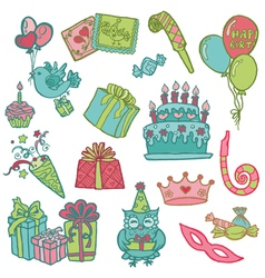 Hand drawn Birthday Celebrations vector image