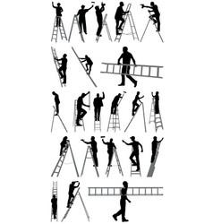 people on ladders vector image