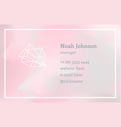 pink double-sided business card with crystal logo vector image vector image