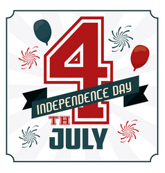 4th july independence day card with american flag vector image vector image