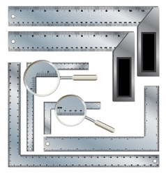 Protractor Ruler set Steel rafter and carpenter vector image