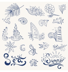 Sketch travel icons vector image