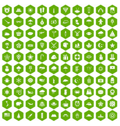 100 star icons hexagon green vector