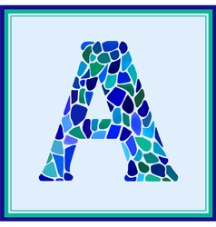 A - letter - Green Watercolor mosaic vector image