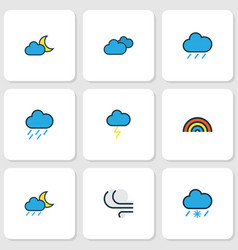 Air icons colored line set with raindrop nimbus vector
