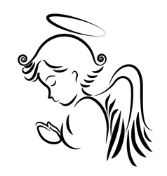 Angel praying logo vector image