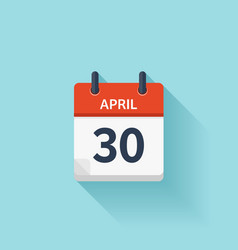 April 30 flat daily calendar icon Date vector