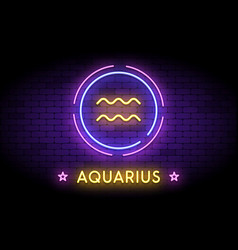 Aquarius zodiac symbol in neon style vector