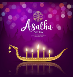 Asalha puja day worship candle important buddhist vector