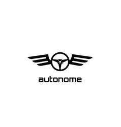Atonomy black steering wheel wings logo vector