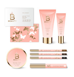 B letter butterfly pink cosmetic identity mockup vector