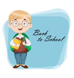 Back to school greeting card cute schoolboy vector