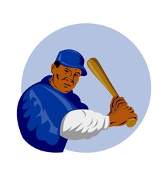 Baseball player batting vector