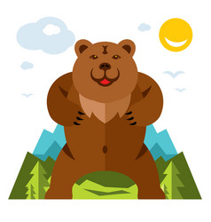 Bear standing on the feet flat style vector
