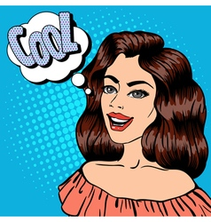 Beautiful Woman with Expression Cool Pop Art vector image