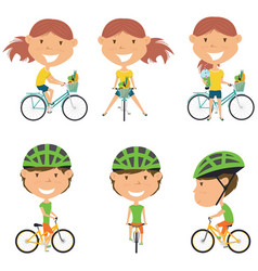 bicycle rider girls vector image