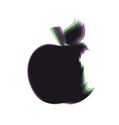 Bite apple sign colorful icon shaked with vector