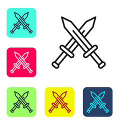 Black line crossed medieval sword icon isolated on vector