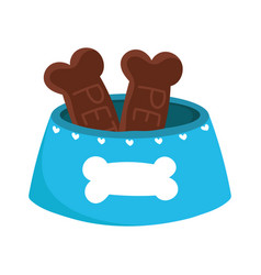 blue bowl food cookies cartoon isolated white vector image