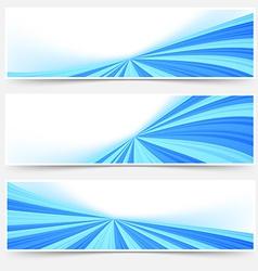 Blue stream swoosh header footer web set vector image