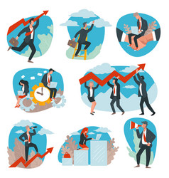 Business team development and achievement vector