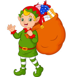 cartoon christmas elf carrying a sack of gifts vector image