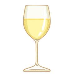 Cartoon glass white wine vector