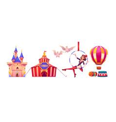 Circus stuff and artist big top tent air gymnast vector