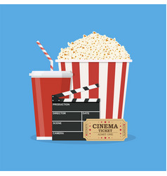 Clapperboard and popcorn and ticket movie vector