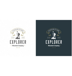 climber logo emblem outdoor adventure expedition vector image