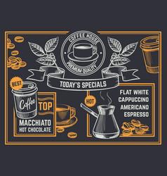 Coffee menu vintage hand drawn coffeeshop flyer vector