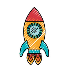 Colored crayon silhouette of space rocket with two vector