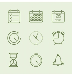 Contoured time and calendar icons vector