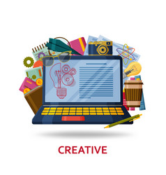 Creation of creative content for the web site vector