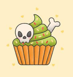 Creepy halloween skulls cupcake cartoon vector