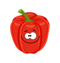 cute cartoon red bell pepper vegetable vector image
