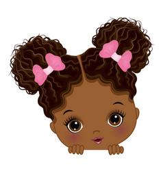 Cute little peekaboo baby girl with afro buns vector