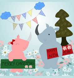 Cute rhinoceros celebrated new year and merry vector