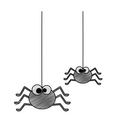 Cute spiders hanging halloween decoration vector
