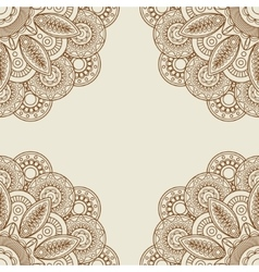 Doodle boho floral henna tattoo frame vector