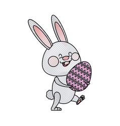 Drawing cute easter bunny holding egg spring party vector