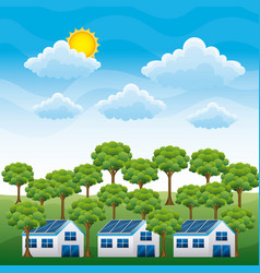 energy clean - houses panel solar and forest cloud vector image
