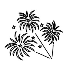 fireworks icon doodle hand drawn or outline icon vector image